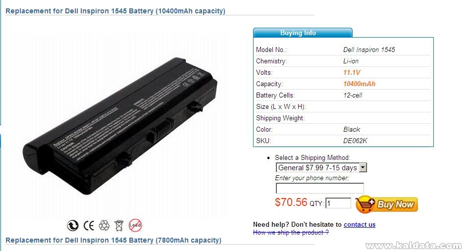 Dell Inspiron 1545 Battery 33