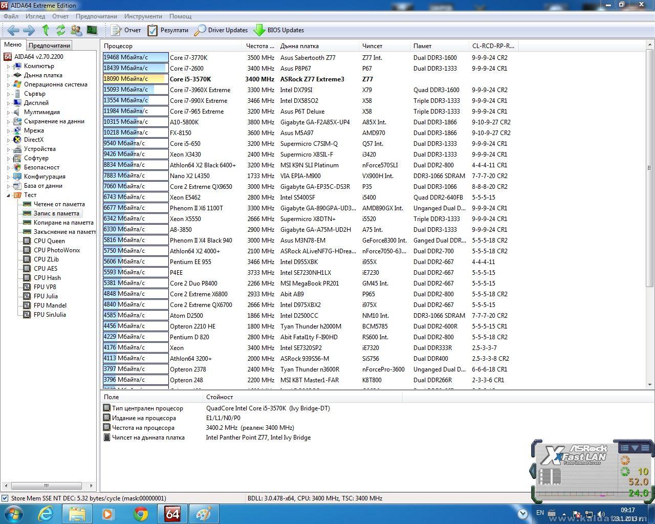 Memory writing (3570K+Asrock Z77 Extreme3 )
