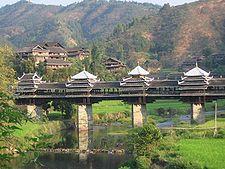 Мост, построен от народа Донг в Китай
