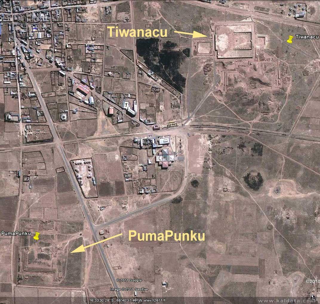 Карта Тиахуанаку и Пима Пунку