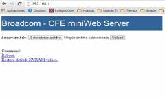 "Зареждане на Web интерфейса на CFE – ""Broadcom – CFE mini Web Server""."