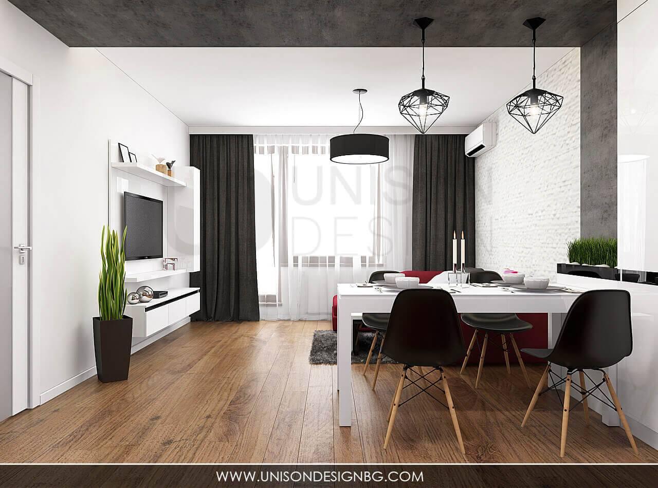 Интериорен-дизайн-на-дневна-кухня-всекидневна-в-черно-бяло-червено-модерен-aпартамент-визуализация-интериорен-дизайнер-Ралица-Запрянова-Unison-Design-София-6.jpg