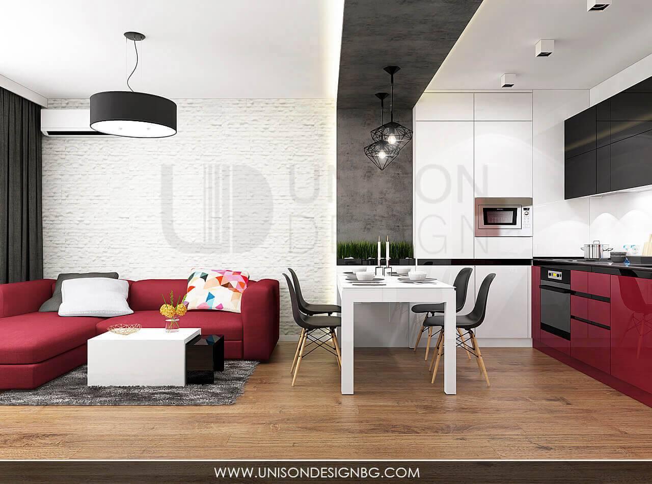 Интериорен-проект-на-кухня-дневна-трапезария-черно-бяло-червено-визуализация-на-апартамент-дизайнер-Ралица-Запрянова-Unison-Design.jpg