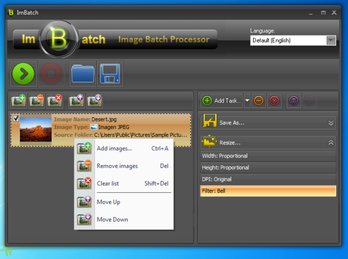 ImBatch е програма за пакетна обработка на изображения. Приложението предоставя