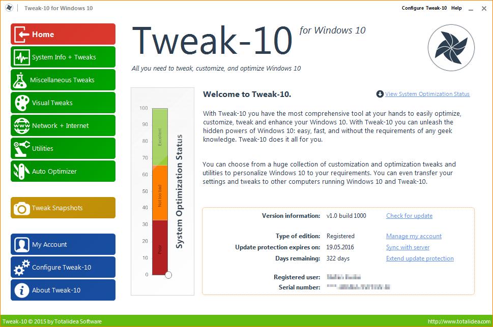 Tweak-10 е създадена за оптимизация и фина настройка на Windows