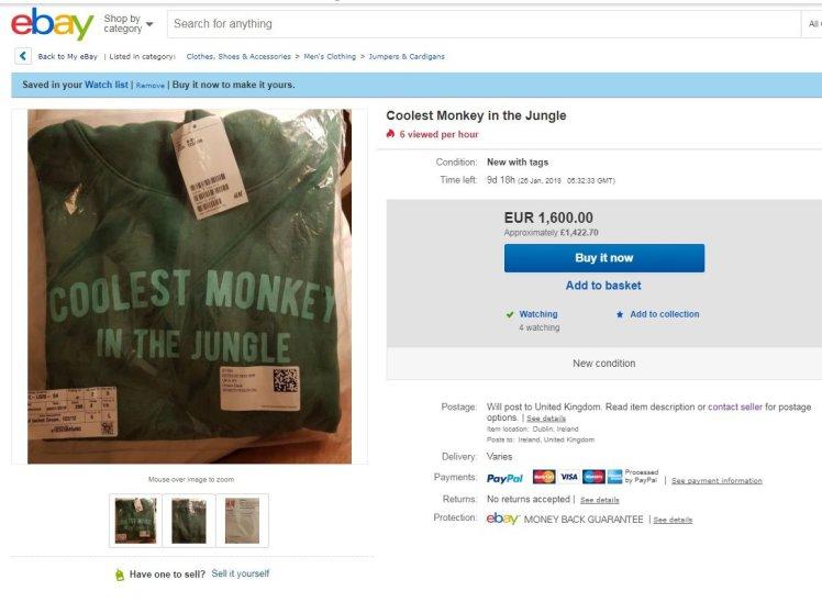 Автентичен суичър на H&M с противоречив надпис достигна рекордна сума