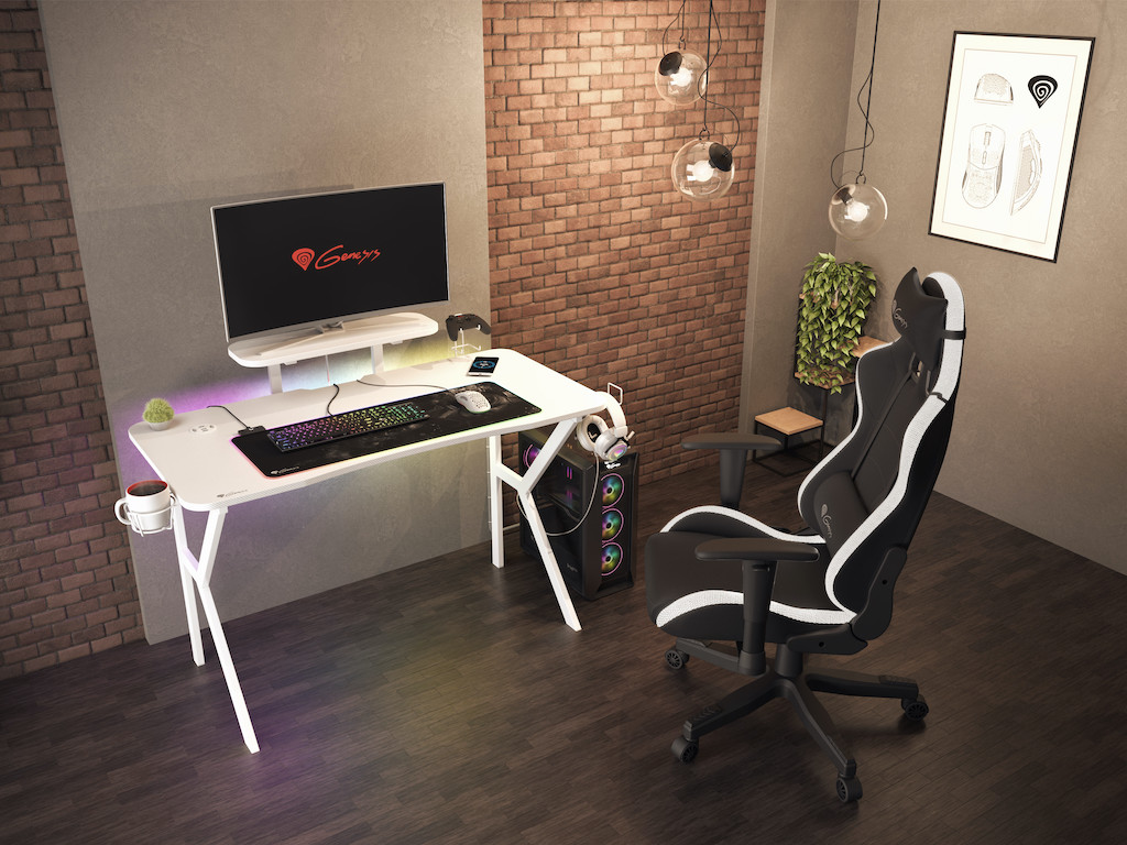 Игралното бюро Genesis HOLM 320 RGB White е за потребители,